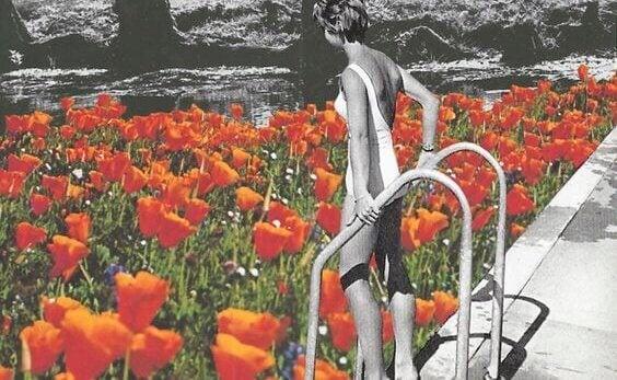 femme et piscine de fleurs