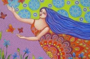 Femme qui suit des papillons