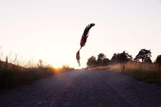 mort caractérisée par une plume élevant une personne au ciel