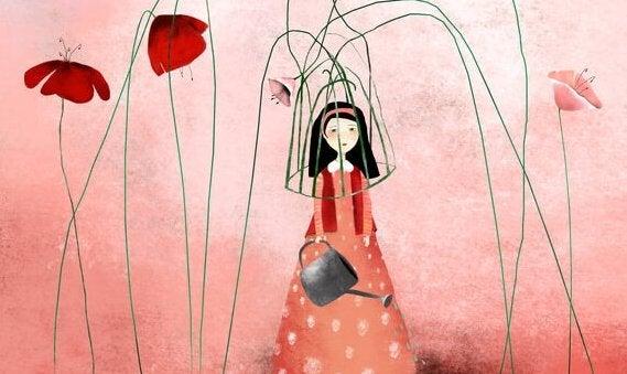 fille et fleurs