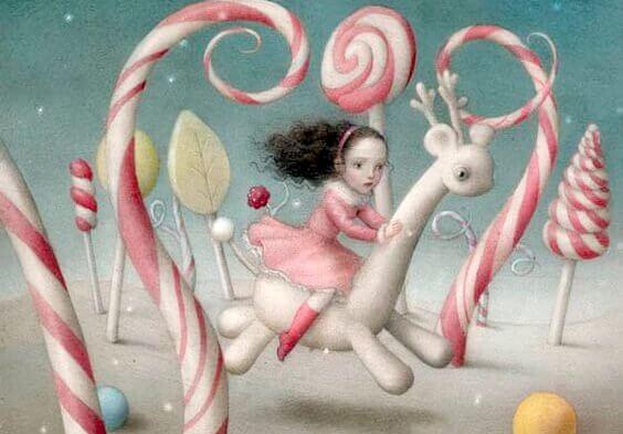 fillette court dans un paysage de bonbons