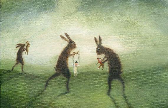 lapins manipulant des marionnettes