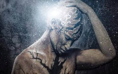 homme se tenant le crâne, lumineux