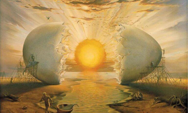 oeuf simulant le lever du soleil