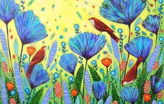 Oiseaux et champ de fleurs bleues