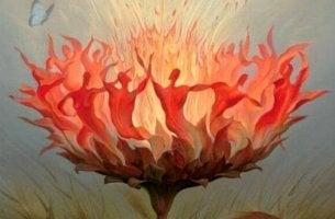 personnes dansant autour du feu
