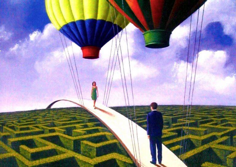 homme femme et montgolfières