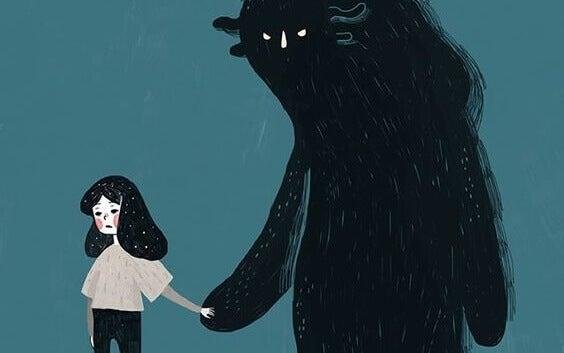petite fille et ses peurs illustrées par une bête noire