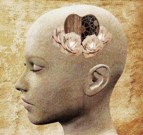 tête avec un coeur et un mécanisme d'auto-réflexion