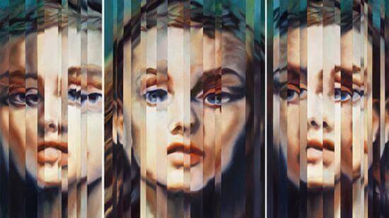 visage de femme tripliquée sur un miroir