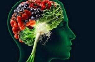 cerveau avec des aliments qui renforcent la mémoire