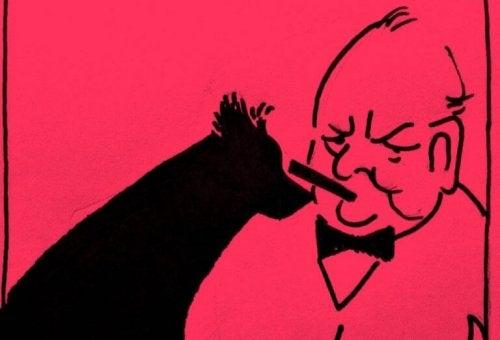Churchill et son chien noir