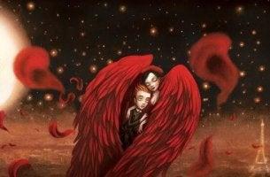 Couple dans des ailes rouges