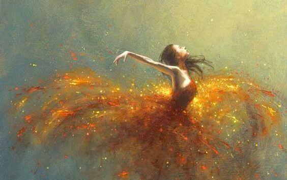danseuse entourée de lumière