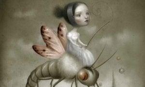 enfant montée sur insecte