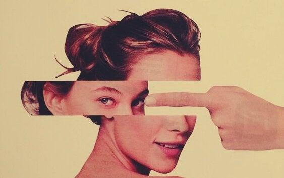 femme au visage fragmenté