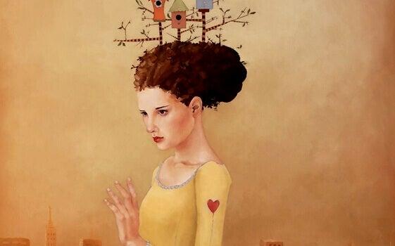 femme avec un cœur sur l'épaule