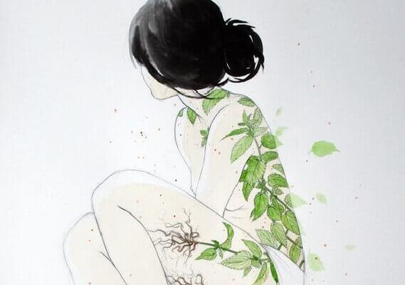 femme et plantes