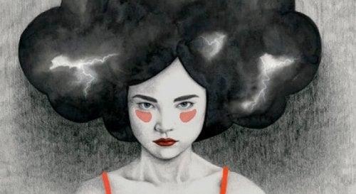 femme avec émotions noires