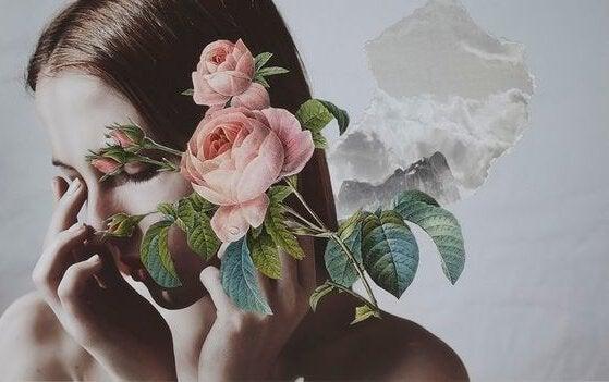 femme avec des roses