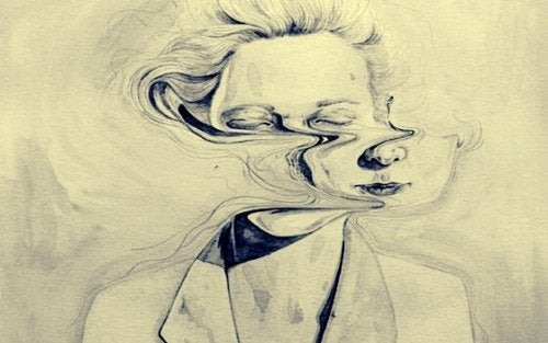 femme avec le visage tordu