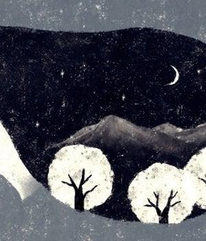femme avec une foret et la lune dans les cheveux