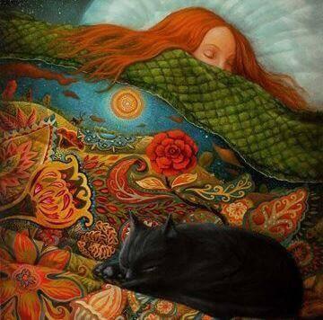 femme endormie avec son chat