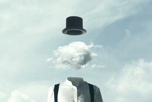 homme avec un nuage à la place de la tête