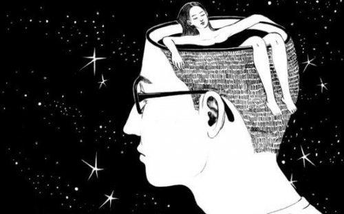 homme avec une femme se baignant dans sa tête