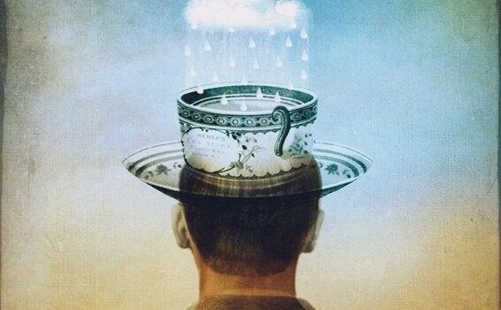 homme avec un chapeau et nuage de pluie