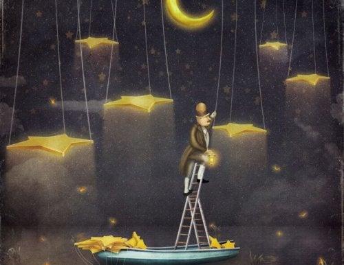 homme fuyant la routine et grimpant vers les étoiles