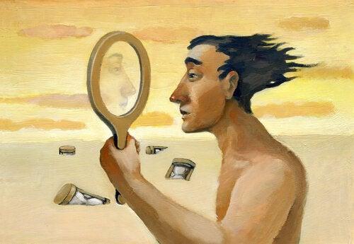 homme qui regarde ses traits de personnalité