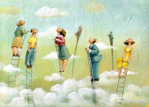 personnes dans les nuages