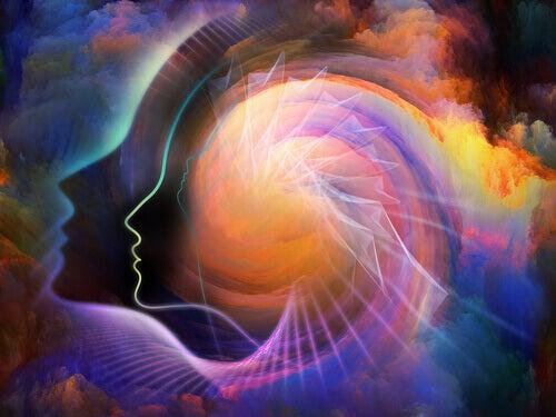 sihouette de tête avec des reflets colorés
