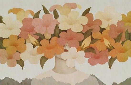 femme seule cachée derrière des fleurs