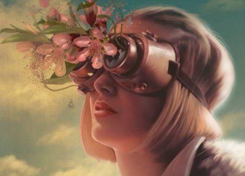 femme avec des fleurs dans ses lunettes