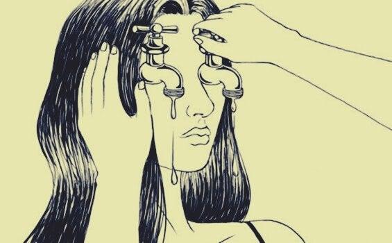 femme ayant des robinets à la place des yeux