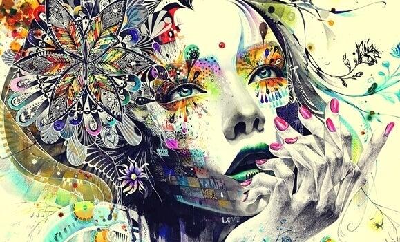 portrait de femme coloré