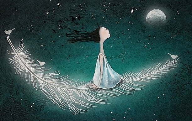 femme sur une plume dans le ciel étoilé