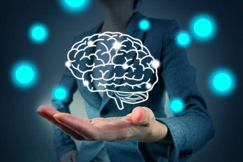 dessin de cerveau sur une main