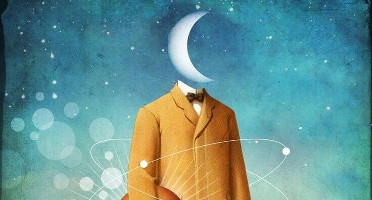 homme avec une tête de lune