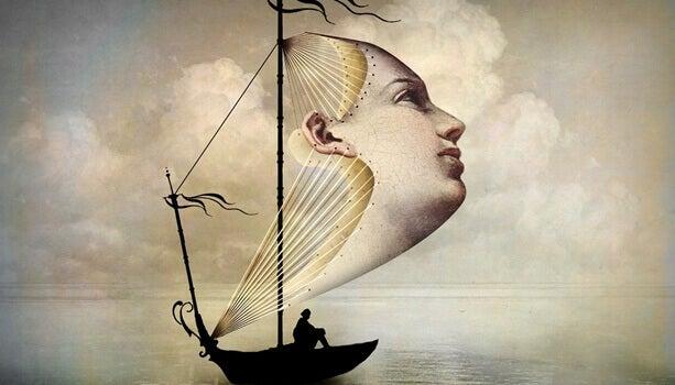 voile de bateau en forme de visage