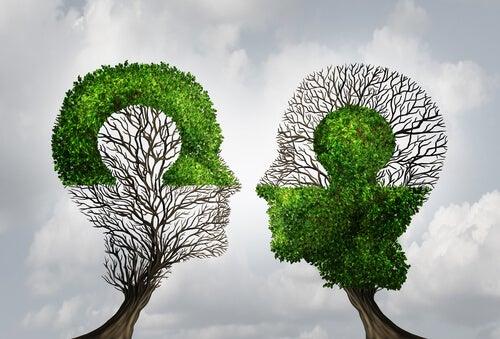 deux arbres en forme de tête