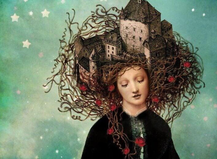 femme avec un château sur la tête
