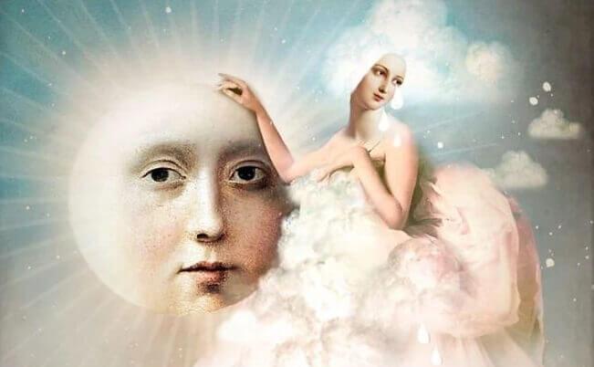 soleil avec visage humain et femme habillée de nuages