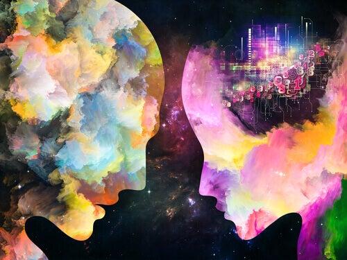 homme et femme avec couleurs