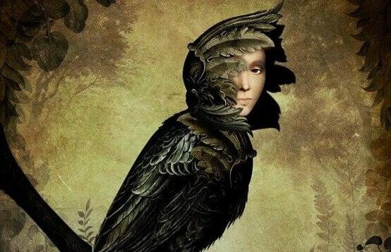 oiseau à visage humain