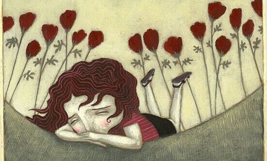 fille triste dans un champ