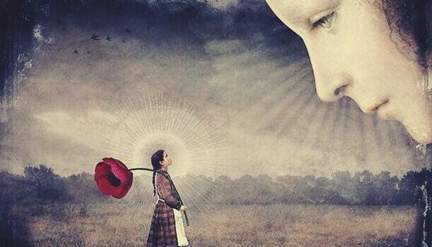 visage regardant une enfant avec une fleur géante