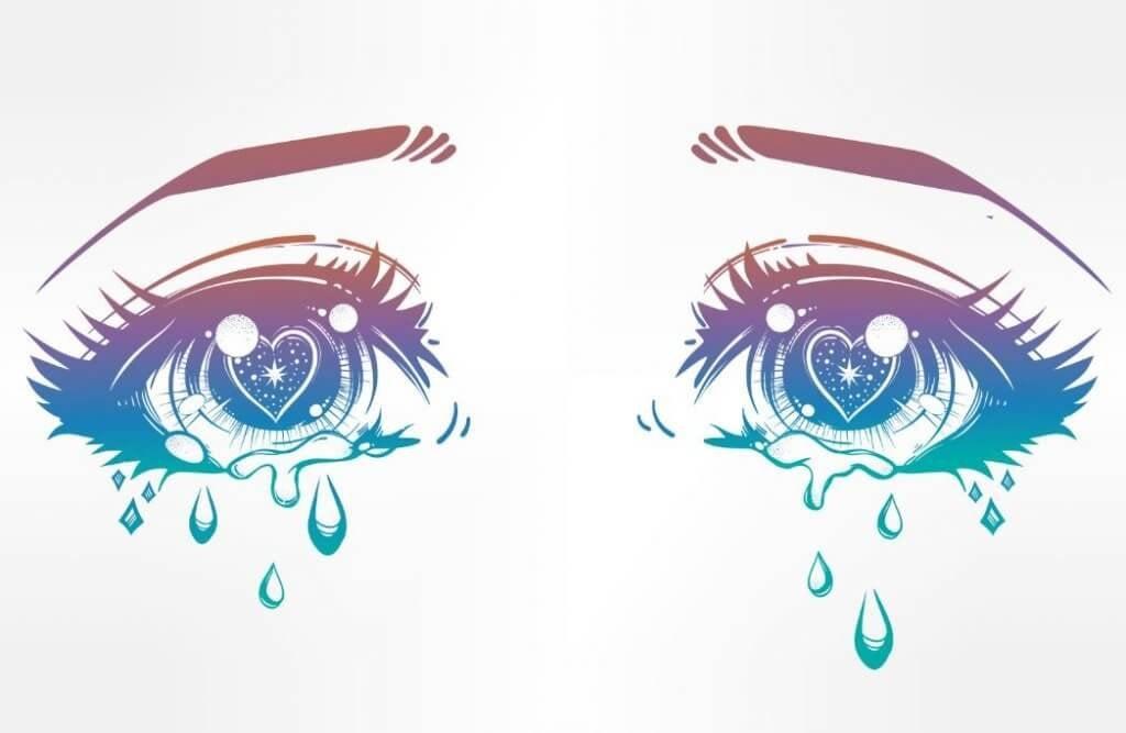 yeux tristes avec des larmes
